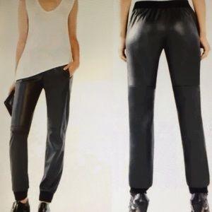 Bcbgmaxazria Sugi Faux Leather Black Jogger Pants